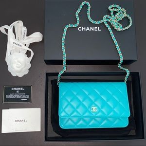 CHANEL Blue Leather Wallet On Chain WOC